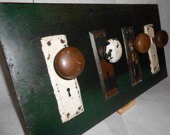 Vintage Repurposed Four Door Knob Coat/Hat Hanger/Hook on Chippy Green Found Wood - 12x22