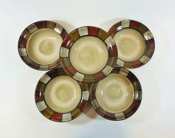 "5 Pfaltzgraff Everyday Taos Stoneware Cereal Soup Salad 8.5"" Bowl, Square Border"