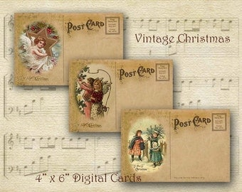 Printable Christmas Postcards, Digital Christmas Cards, Christmas Vintage Postcards, Digital Christmas Ephemera, Shabby Chic Christmas Cards