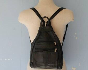Vintage 90s Black Backpack/Street Style/Vegan/Small Backpack/