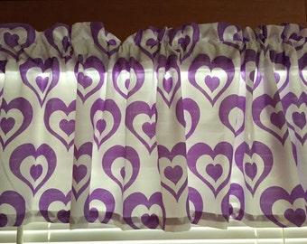 "Purple Hearts Window Valance ~ 64"" wide"