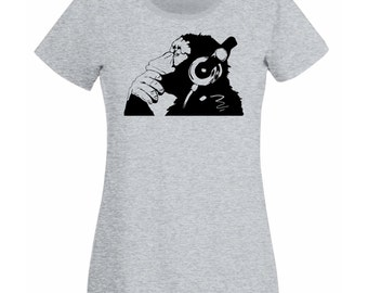 Banksy Monkey With Headphones Womens T-Shirt / Chimp Head Listening to Music Earphones / Street Art Graffiti Shirt + Free Decal Gift