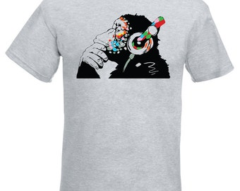 Banksy Monkey With Headphones Mens T-Shirt / Colorful Chimp Head Listening to Music Earphones / Street Art Graffiti Shirt + Free Decal Gift