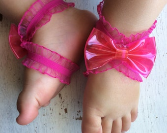 Barefoot sandals; baby barefoot sandals; hot pink ruffle sandal ; toddler barefoot sandal; sandal