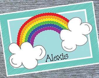 Girls Personalized Placemat, Over The Rainbow Placemat, Custom Girls Placemat, Rainbow Theme Birthday Gift, New Baby Girl Gift
