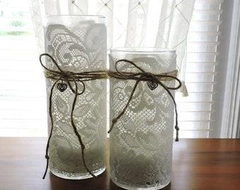 Wedding Centerpiece | Bridal Shower Decor | Wedding Candle Holders | Wedding Candle | Rustic Wedding Decor | Wedding Candle Centerpiece |