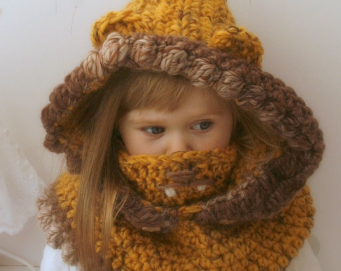 CROCHET PATTERN Lion hooded cowl Ian (toddler/child/adult sizes)