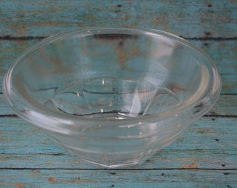 """Vintage Hazel Atlas Clear """"Rest Well"""" Rolled Edge Mixing Bowl"""