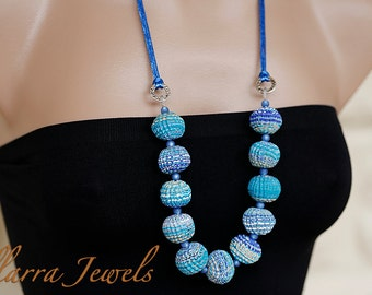 Polymer Clay Bead Necklace with Chunky, Rough Cut Polymer Clay Beads in shades of Blue and White on Blue Satin Cord - OOAK