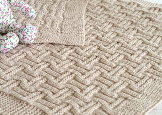 Knitting Pattern Beginner Knit Baby Blanket in Double ...
