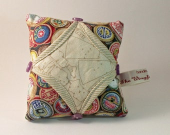 Cathedral Window Pin Cushion in 'Sew retro Montage' fabrics P1