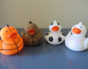 "Sports Rubber Ducks - basketball, baseball, soccer, football - duckies are 2"" tall"