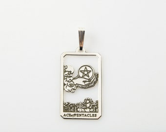 Ace of Pentacles Tarot Pendant in Sterling Silver