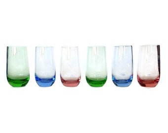 Vintage Juice Glasses, Hand Blown Multi Color Glassware, Pink, Blue, Green, Set of 6
