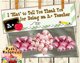 Printable Thank You teacher appreciation  Gift bag topper