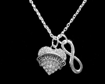 Infinity Crystal Daughter Necklace, Heart Daddy's Little Girl Gift Necklace