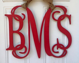 Monogram door hanger, 3 letter monogram door hanger, custom door hanger