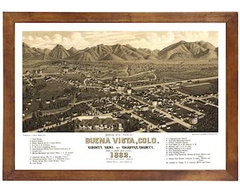Buena Vista, CO 1882 Bird's Eye View; 24x36 Print from a Vintage Lithograph