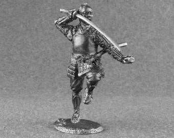 Toy Soldier Ashigaru Attacks Medieval 1/32 Scale Japanese Warrior 54mm Tin Statue Casting Role Playing Collectible Antique Figurines