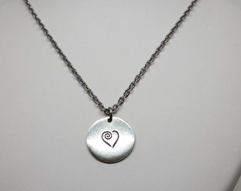 Pewter heart necklace