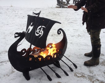 Viking ship firepit