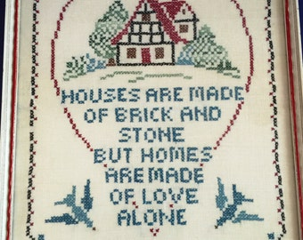 Vintage Framed Cross Stitch Praising Home 16.5 X12.5 X 1 in Handmade Folk Art