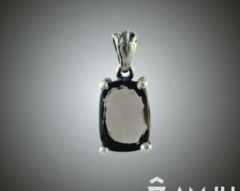 Fantasy organic smoky quartz sterling silver handmade pendant