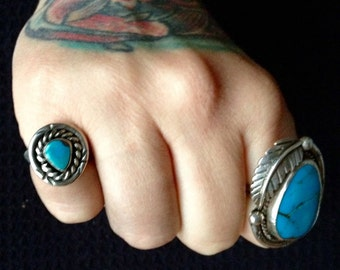 Native American Sleeping Beauty Turquoise + Sterling Silver Pinky Ring Size 6