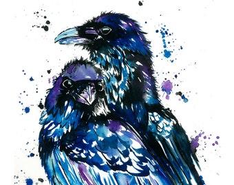 Raven art, raven print, raven watercolour, raven watercolor, raven painting, bird art, bird print, bird painting. canadian artist,
