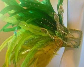 Citron Feathered Arm Cuffs