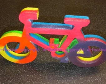 Wooden Bicycle in rainbow colours - 17 x 10 cm - Colour combo A