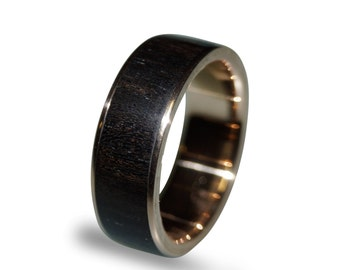14k Gold Ring, Gold Band inlaid with Ebony Wood, Wood Ring, Gold Wedding Ring