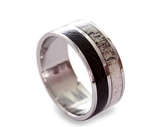 Men's titanium ring with wenge wood and deer antler inlay