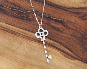 FREE SHIPPING 925 Sterling Silver CZ Key Necklace