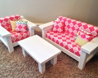 """ON SALE American Girl Doll Furniture. 3 pc Living room set: Couch, Chair & Coffee Table for 18"""" doll. Multi-Pink Quatrefoil"""