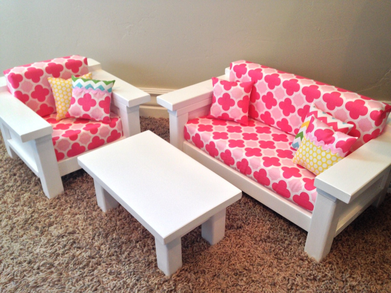 American Girl Doll Furniture. 3 Pc Living Room Set: Couch