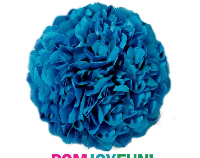 Peacock Blue Tissue Paper Pom, Peacock Pom, Peacock Tissue Paper Pom Pom, Peacock Paper Flower, Tissue Flower, Wedding and Birthday Decor