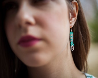 Teal and Metallic Silver Beaded Earrings with Sterling Silver Earwires