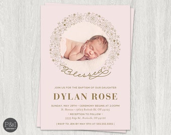 Baby Boy or Girl Baptism Photo Invitation  / Christening Invitations / DIY/ Printable