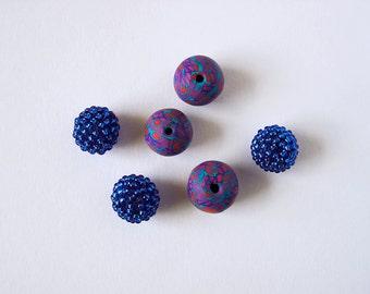 6 Handmade Beaded and Polymer Clay Beads