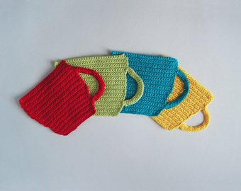 4 Crochet Coasters - Cups