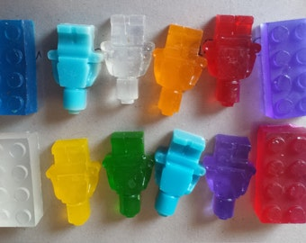 Kids soap. 15 bricks or man shape. Ideal for party bags, present. Novelty gift
