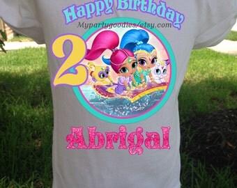 Shimmer and Shine Birthday shirt, Birthday Girl Shirt, Shimmer and Shine party, Shimmer birthday shirt.