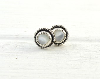 Mother of Pearl Earring Studs, Classy Elegant Earrings, Wedding Jewelry, Bridesmaid Jewelry, White Posts, Christmas Gift, Gemstone Jewelry