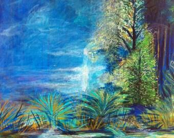 Nature landscape contemporary painting  Nébuleuse apparition