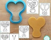 Hot Air Balloon 2, Bunny, Maracas, Tennis, Hockey & Lacrosse Cookie Cutter Designed by Whisked Away Cutters - *Guideline Sketches to Print*