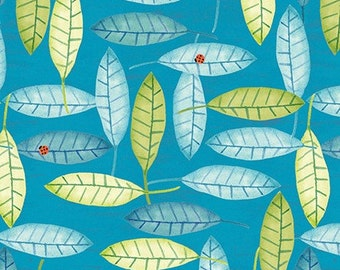 Clothworks Woodsy, Y1659-98, Barb Tourtillotte, Teal Leaf Fabric, Teal, Aqua, Green Leaves, Ladybugs, Woodland Quilt Fabric, 100% Cotton
