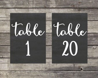 Chalkboard Table Numbers 1-20 Instant Download 5 x 7