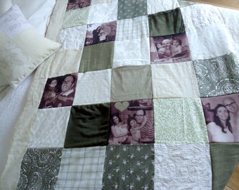 Gift for Dad.Memory Patch Quilt,gift for grandfather. Gift for father.dads birthday gift .Photo Throw Blanket,memorial quilt.memorial blank