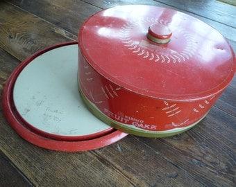 Vintage Red Nabisco Fruit Cake Tin Cake Carrier